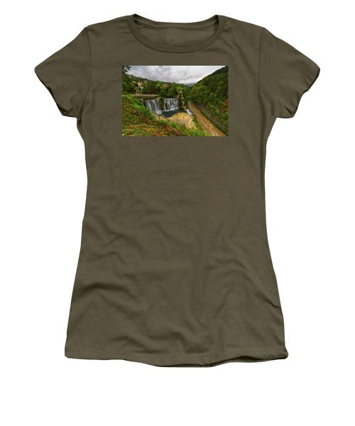 Pliva Waterfall, Jajce, Bosnia And Herzegovina Women's T-Shirt (Athletic Fit)