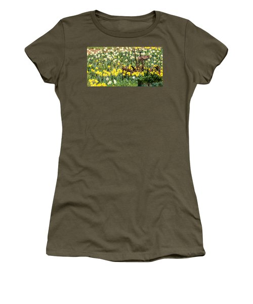 Plow In Field Of Daffodils Women's T-Shirt (Athletic Fit)