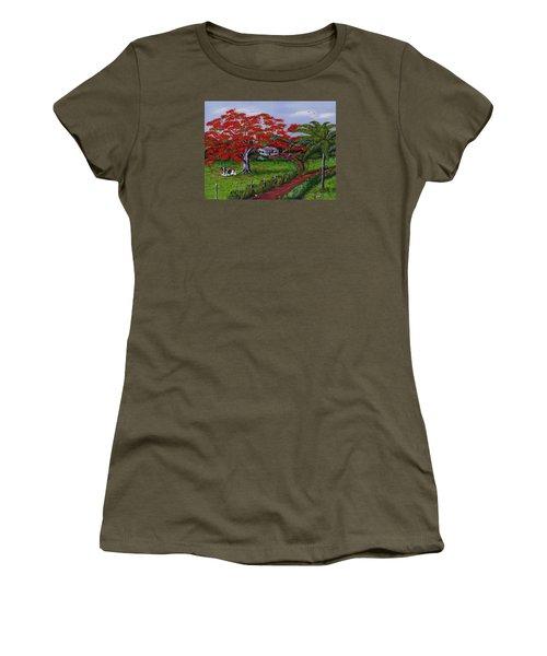 Poinciana Blvd Women's T-Shirt (Junior Cut) by Luis F Rodriguez