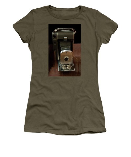 Women's T-Shirt (Athletic Fit) featuring the photograph Polaroid Land Camera Model 160 by Chris Flees