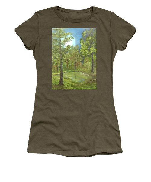 Women's T-Shirt (Junior Cut) featuring the mixed media Pond by Angela Stout