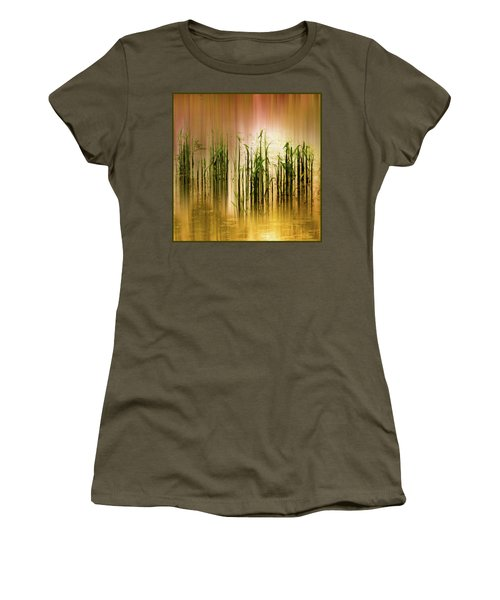 Women's T-Shirt featuring the photograph Pond Grass Abstract   by Jessica Jenney