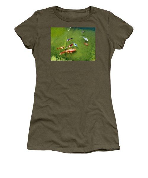 Pond With Koi Fish Women's T-Shirt (Junior Cut) by Joseph Frank Baraba