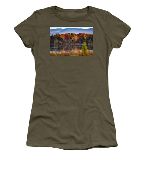 Women's T-Shirt featuring the photograph Pondicherry Fall Foliage Reflection by Jeff Folger