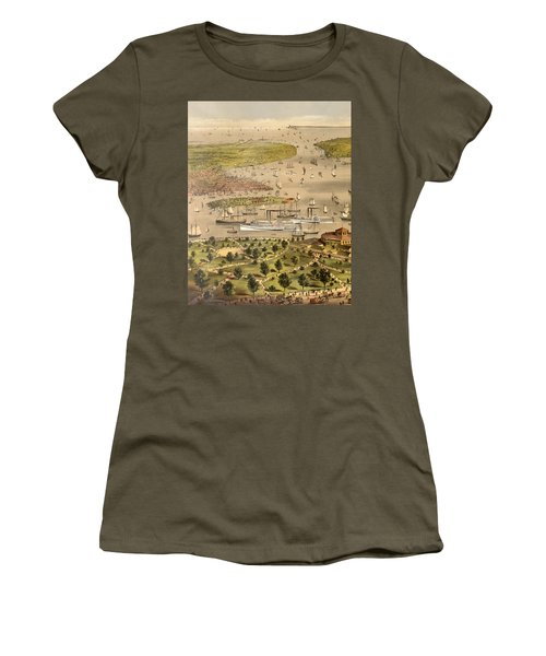 Port Of New York, Birds Eye View From The Battery Looking South, Circa 1878 Women's T-Shirt