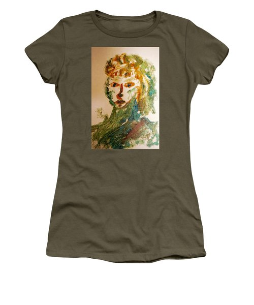 Women's T-Shirt (Junior Cut) featuring the painting Portrait Of A Girl  by Shea Holliman
