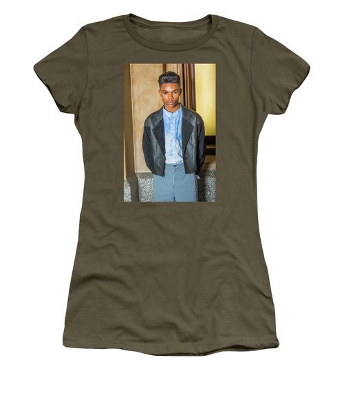 Women's T-Shirt (Athletic Fit) featuring the photograph Portrait Of School Boy 15042624 by Alexander Image