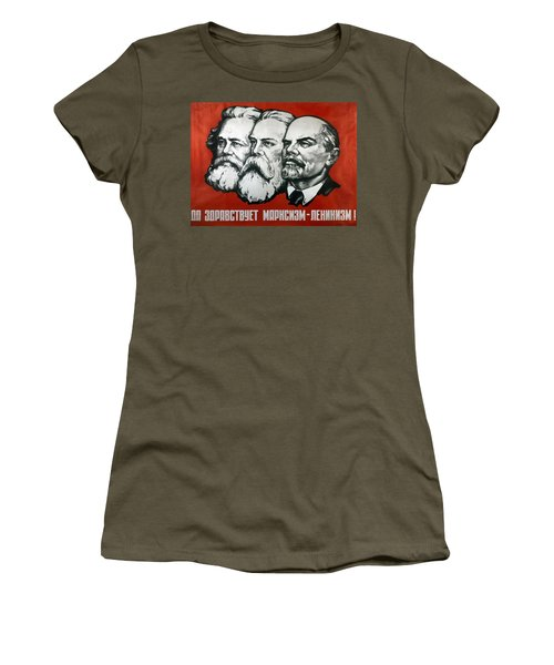 Poster Depicting Karl Marx Friedrich Engels And Lenin Women's T-Shirt