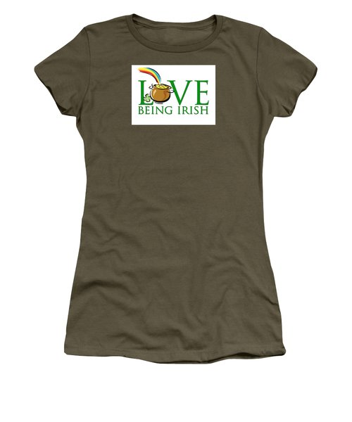 Pot Of Gold Love Being Irish Women's T-Shirt (Athletic Fit)