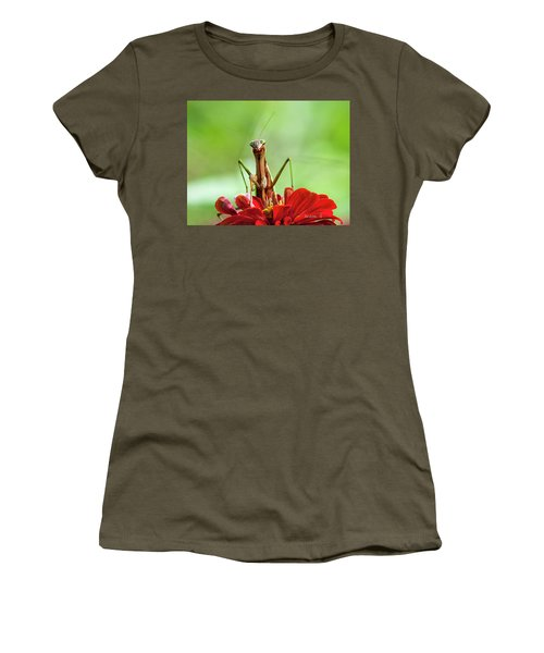 Praying Mantis On Zinnia Women's T-Shirt (Athletic Fit)