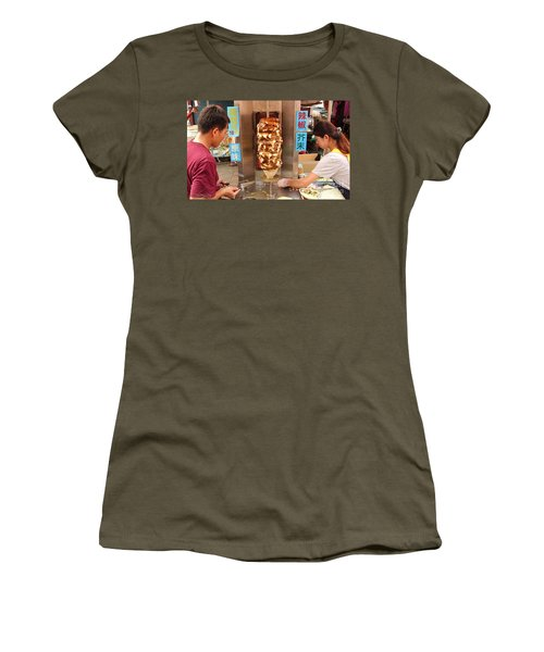 Women's T-Shirt (Junior Cut) featuring the photograph Preparing Shawarma Meat In Bread Buns by Yali Shi