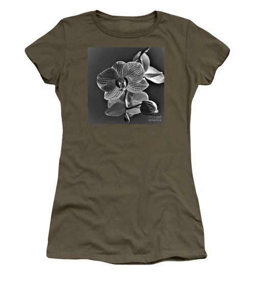 Women's T-Shirt featuring the photograph Pretty Orchid Bw by Jeremy Hayden