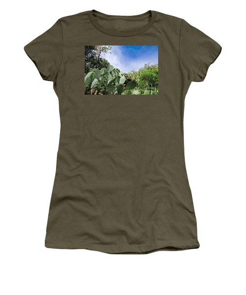 Women's T-Shirt (Junior Cut) featuring the photograph Prickly Pear Hillside by Gina Savage