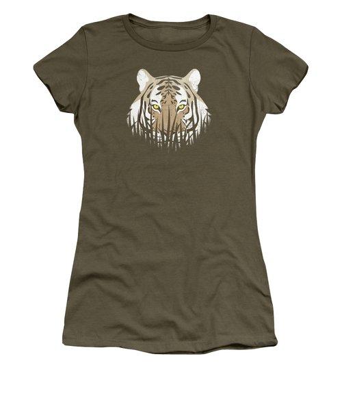 Hiding Tiger Women's T-Shirt (Junior Cut) by Sinisa Kale