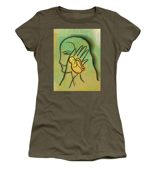 Women's T-Shirt (Junior Cut) featuring the painting Pro Abortion Or Pro Choice? by Leon Zernitsky