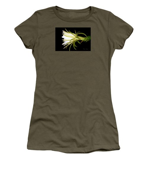 Profile Night Blooming Cereus Women's T-Shirt (Junior Cut) by Barbara Chichester