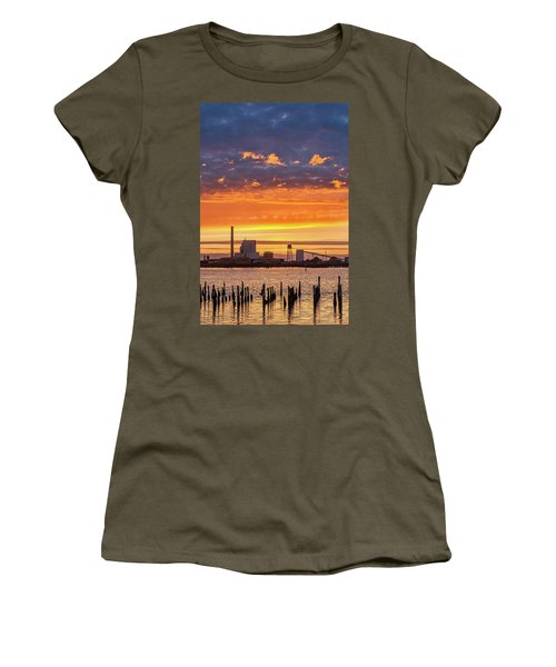Pulp Mill Sunset Women's T-Shirt (Junior Cut) by Greg Nyquist