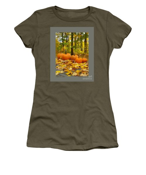 Women's T-Shirt (Junior Cut) featuring the photograph Pumpkins And Woods-ii by Patricia Overmoyer