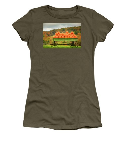 Pumpkins On A Wagon Women's T-Shirt (Athletic Fit)