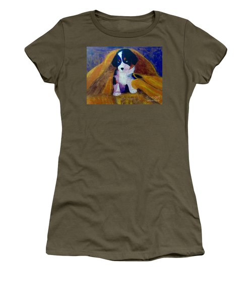 Women's T-Shirt (Junior Cut) featuring the painting Puppy Bath by Donald J Ryker III