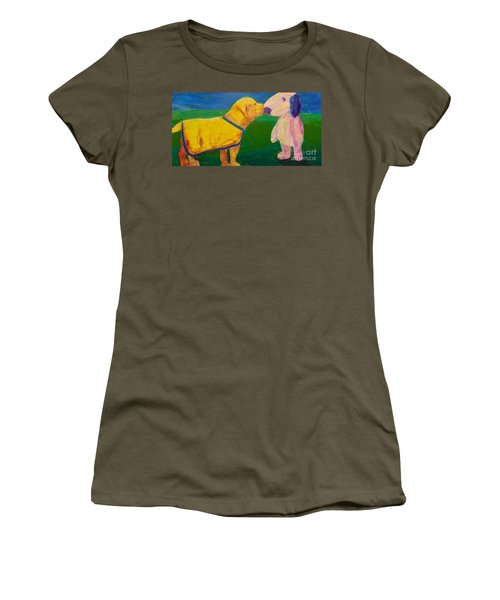 Women's T-Shirt (Junior Cut) featuring the painting Puppy Say Hi by Donald J Ryker III