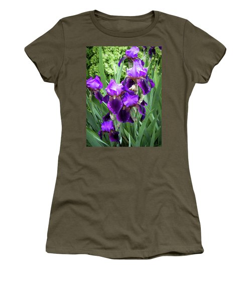 Women's T-Shirt featuring the photograph Purple Bearded Irises by Penny Lisowski
