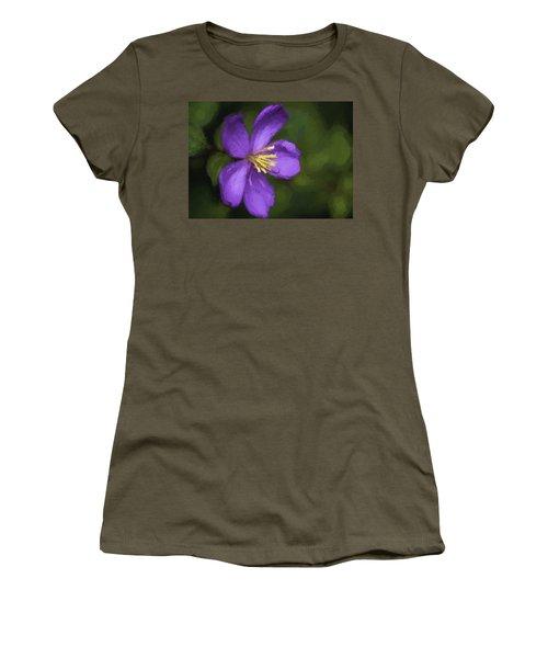 Women's T-Shirt featuring the photograph Purple Flower Macro Impression by Dan McManus