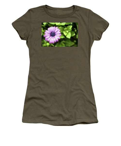 Purple Flower On Green Women's T-Shirt (Athletic Fit)