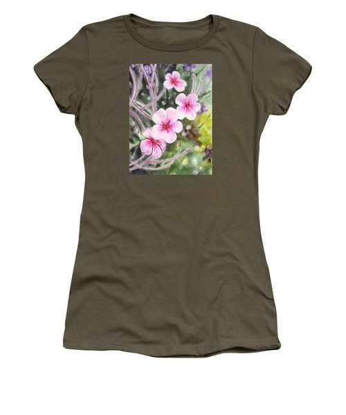 Women's T-Shirt (Athletic Fit) featuring the painting Purple Flowers In Golden Gate Park San Francisco by Irina Sztukowski