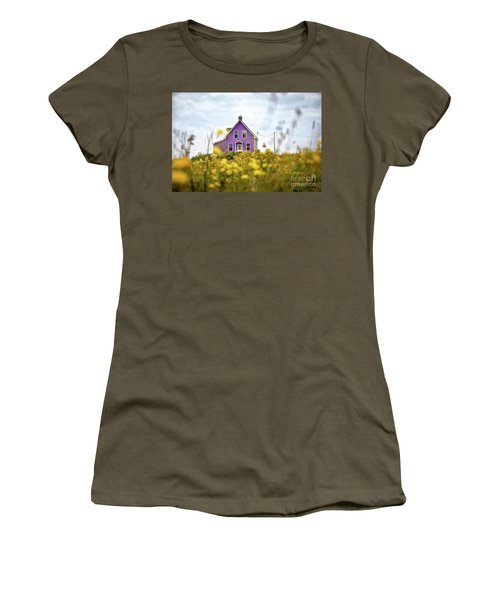 Purple House And Yellow Flowers Women's T-Shirt