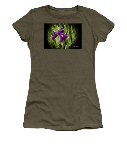 Women's T-Shirt (Junior Cut) featuring the photograph Purple Japanese Iris by Joann Copeland-Paul