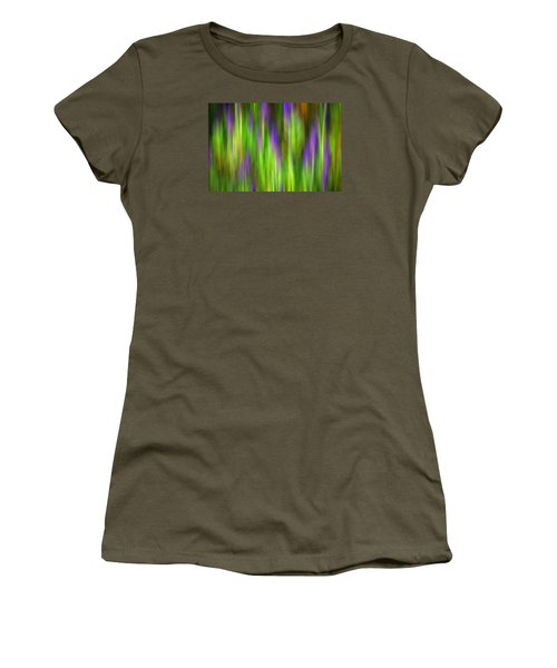 Purple Sage Digital Abstracts Motion Blur Women's T-Shirt (Junior Cut) by Rich Franco