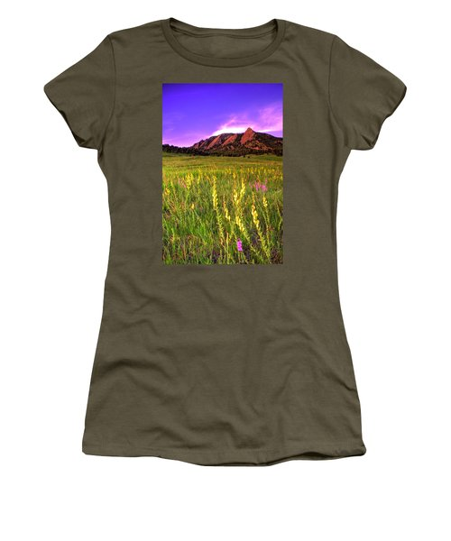 Purple Skies And Wildflowers Women's T-Shirt (Athletic Fit)