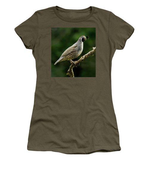 Quail  Women's T-Shirt (Junior Cut) by Inge Riis McDonald