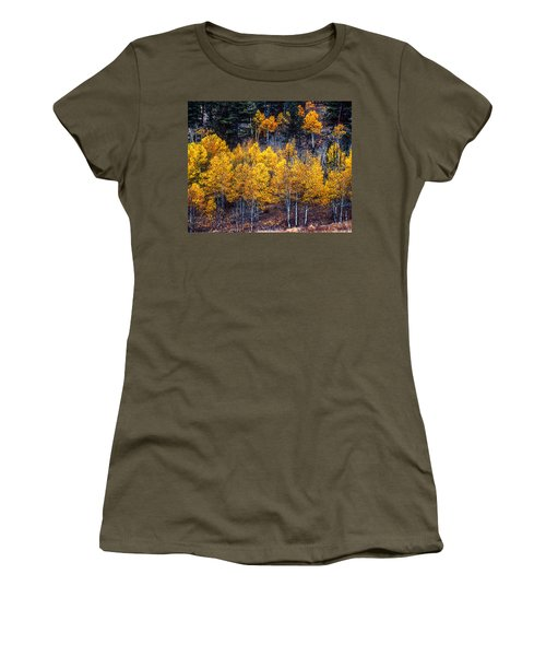 Aspen In Fall Colors In Eleven Mile Canyon Colorado Women's T-Shirt (Junior Cut) by John Brink