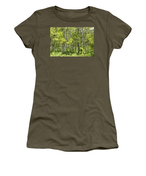 Women's T-Shirt (Junior Cut) featuring the photograph Quaking Aspens 2 by Cynthia Powell