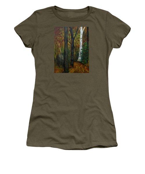 Quiet Autumn Woods Women's T-Shirt (Junior Cut) by FT McKinstry