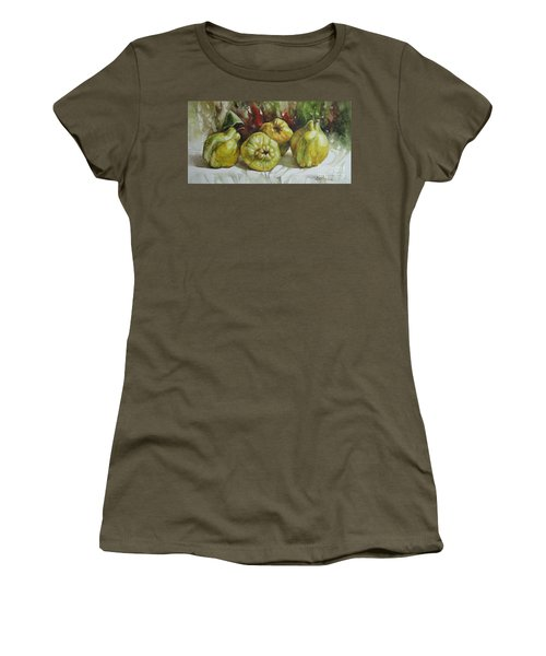 Women's T-Shirt (Junior Cut) featuring the painting Quinces by Elena Oleniuc