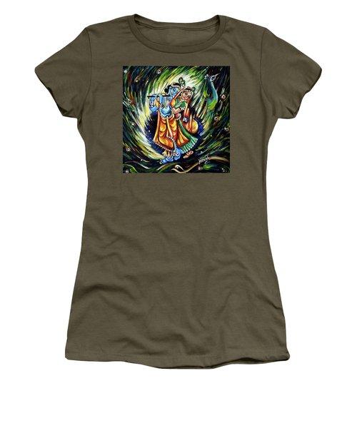 Women's T-Shirt (Junior Cut) featuring the painting Radhe Krishna by Harsh Malik