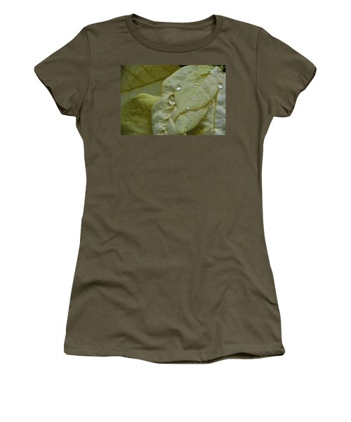 Rain Drops On A  White Poinsettia Women's T-Shirt