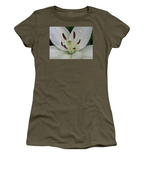 Women's T-Shirt featuring the photograph Rain Drops On Lily by Cris Fulton