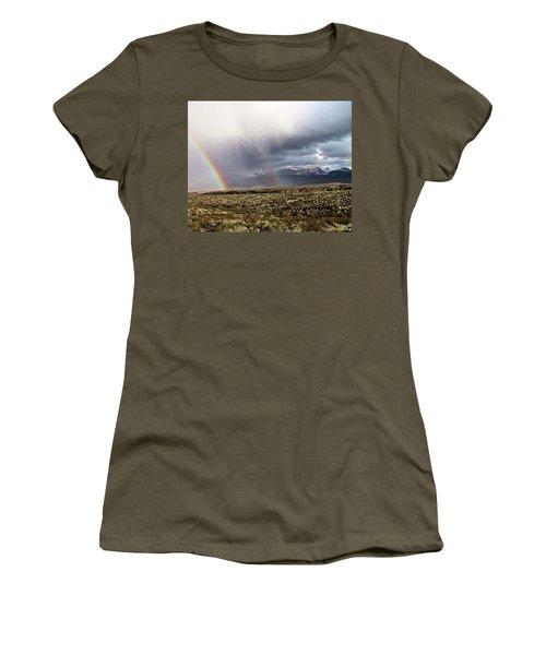 Women's T-Shirt (Junior Cut) featuring the painting Rain In The Desert by Dennis Ciscel