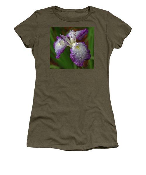 Rain-soaked Iris Women's T-Shirt (Junior Cut) by Marie Hicks