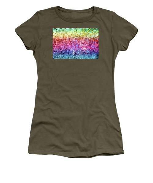Rainbow Abstract Swirls Women's T-Shirt