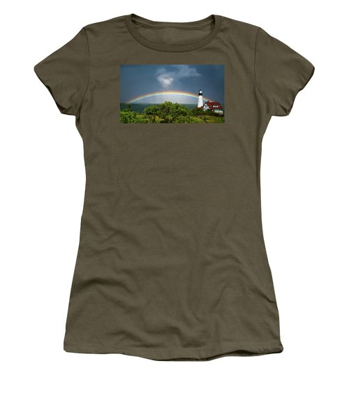 Rainbow At Portland Headlight Women's T-Shirt (Athletic Fit)