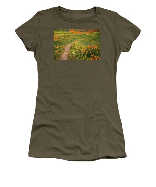 Women's T-Shirt (Junior Cut) featuring the photograph Rainbow Of Wildflowers Bloom Near Diamond Lake In California by Jetson Nguyen