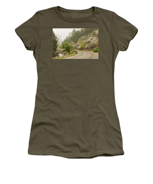 Women's T-Shirt (Athletic Fit) featuring the photograph Rainy Misty Boulder Creek And Boulder Canyon Drive by James BO Insogna