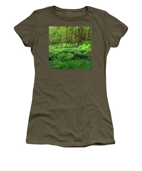 Ramsons And Bluebells, Bentley Woods Women's T-Shirt (Junior Cut) by John Edwards