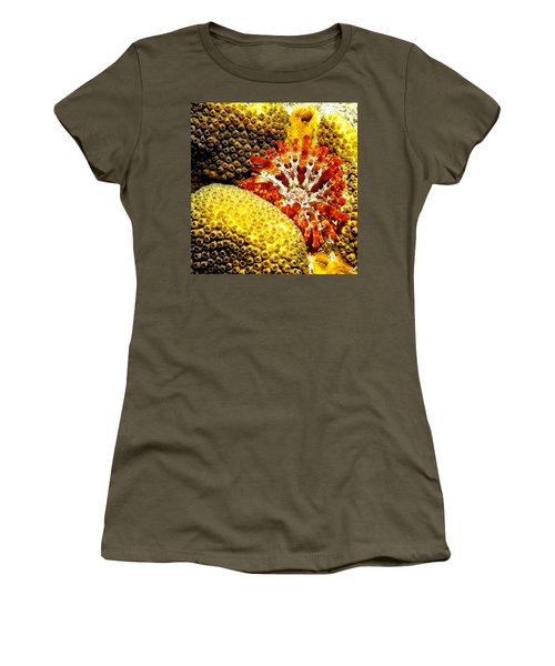 Women's T-Shirt (Junior Cut) featuring the photograph Rare Orange Tipped Corallimorph - Fire In The Sea by Amy McDaniel