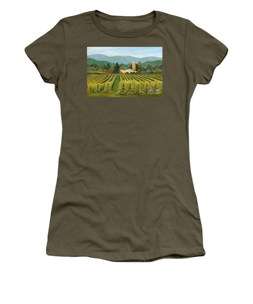 Women's T-Shirt featuring the painting Raspberry Rows by Phyllis Howard